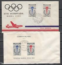 Peru, Scott cat. C172-C173 & C173a. Rome Olympics on 2 First day covers
