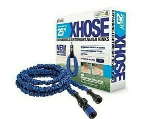 New The Official XHose Expanding Garden Hose Pipe With Tap Adaptor Blue 25ft