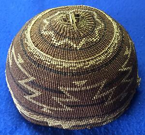 Native American Indian  - Karuk Basket / Hat Negative Weave - California