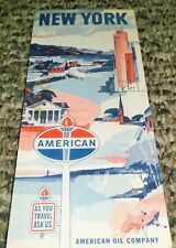 *VINTAGE* AMERICAN OIL COMPANY 1965 NEW YORK MAP
