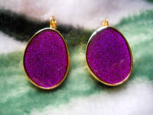 Kenneth Jay Lane Gold Purple Enamel Eurowire Pierced Earrings