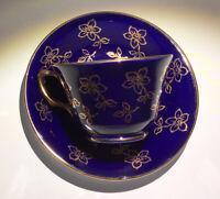 SPENCER STEVENSON TEA CUP AND SAUCER SET - COBALT / GOLD