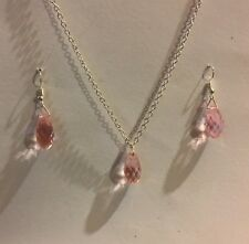 SMALL GLASS pink FACETED BRIOLETTE PENDANT EARRING SET SILVER PLATED CHAIN
