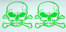 2X SKULL WITH CROSS BONES VINYL DECALS STICKERS LIME GREEN NEW