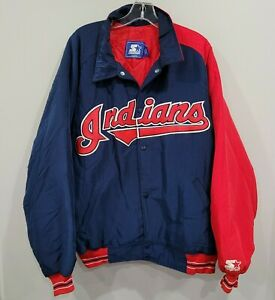 Rare Vintage 90s Starter Cleveland Indians Baseball Dugout Jacket Mens 2XL