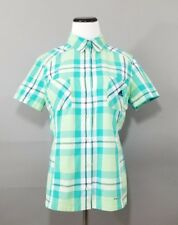 Adidas Clima Cool Womens Teal Plaid Button Up Short Sleeve Shirt Size Medium
