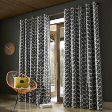 Orla Kiely Linear Stem Pair Lined Eyelet Curtains Charcoal Grey Ready to Hang