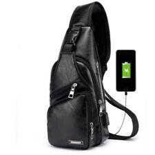 Leather Crossbody Bag Single Shoulder Bag USB Sports Casual Chest Bag Mens Fast