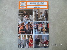 CARTE FICHE CINEMA 2012 TO ROME WITH LOVE Woody Allen Judy Davis Alison Pill
