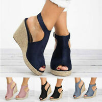 Women's Ladies Fashion Wedges Casual Buckle Strap Roman High Heel Shoes Sandals