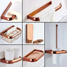 Rose Gold Brass Wall Mounted Bathroom Accessories Set Hardware Towel Bars Qh01