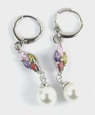 Women's 18 Carat White Gold Plated Pearl and Multi Colour Dangle Earrings
