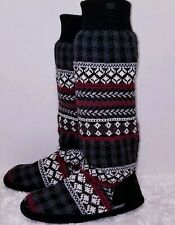 MukLuks Womens Size L 8/9 Nordic Slipper Boots Black, maroon, white, grey
