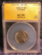 1942-P Jefferson Nickel ANACS AU 58 - Details Cleaned