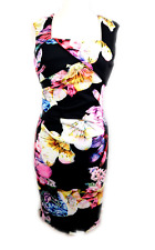 LIPSY LONDON Dark FLORAL pink white BODYCON ladies party dress Size 8