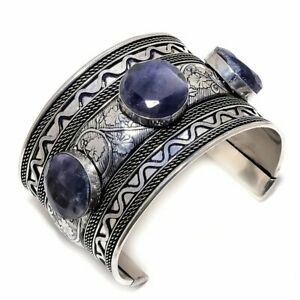 Blue Sapphire 925 Sterling Silver Jewelry Bangle Adst