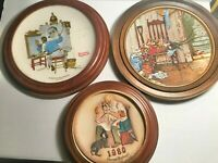 3 Vintage Framed Normal Rockwell Plates Spring Flowers Self Portrait Toy maker