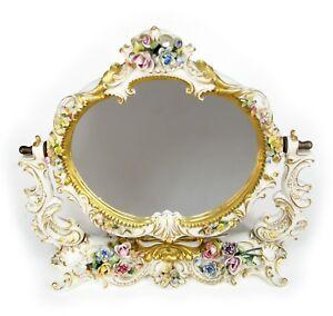 Vintage 1980's Italy Signed Handpainted Capodimonte Tabletop Vanity Mirror