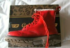 Golddigga Red Patent Fur lined ankle boots great condition boxed size 5