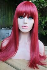 Peluca de mezcla de cabello humano Rojo Largo Flecos Peluca Completa de Tapa Clásico