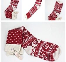 Victoria's Secret Fair Isle Cashmere Blend Red Snowflakes Holiday Socks M/L NWT