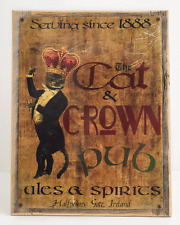 The Cat and Crown Metal Sign Framed on Rustic Wood , Vintage Irish Pub