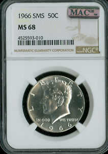 1966 KENNEDY HALF DOLLAR NGC MAC MS-68 SMS PQ FINEST SPOTLESS RARE .