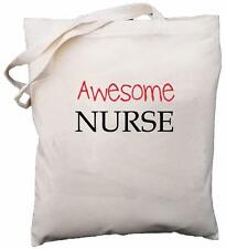 Awesome Nurse - Natural Cotton Shoulder Bag - Gift