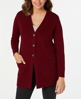 Karen Scott Women's Mixed-Stitch Button-Front Cardigan  Red Size Extra Large