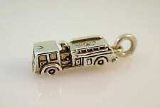 .925 Sterling Silver 3-D FIRE ENGINE CHARM Pendant NEW 925 Truck Fighter WK05