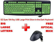 BIG / LARGE LETTERS Print EZ Eyes 104-Key USB Glow-in-the-Dark Keyboard & Mice