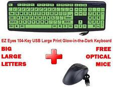 BIG / LARGE LETTERS Print EZ Eyes 104-Key USB Glow-in-the-Dark Keyboard & Mice