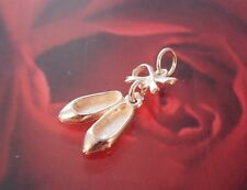 New 925 Sterling Silver Ballet Shoes & Bow Charm Pendant - Boxed