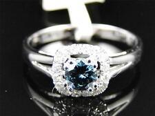 14K Ladies White Gold Round Blue Diamond Engagement Solitaire Wedding Band Ring
