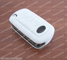 White Folding Land Rover Remote Key Case Shell Silicone Protective Cover Bag