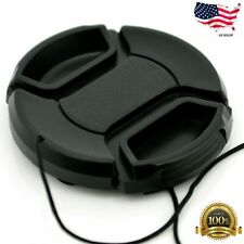 49mm Lens Cap center pinch snap on Front Cover string for Canon Nikon Sony -e159