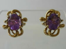 Stunning Large Art Nouveau Style Amethyst & Diamond 9K Gold Earrings - Cased
