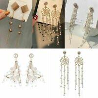 Long Korean Style Tassel Crystal Rhinestone Drop Dangle Stud Earrings For Women