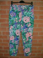 ZARA Womens Black Green Floral Ankle Graze Trousers UK 10 Medium