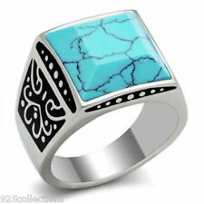 316 Stainless Steel March Aqua Marine Turquoise Stone Men Ring Jewelry Size 13