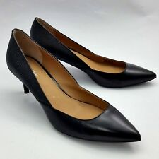 Calvin Klein Patna Pumps Leather Pointed Toe Classic Black Heels Shoes Size 8M