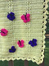 NEW Hand crocheT baby blanket/lap afghan-Girl BOY YELLOW BUTTERFLY-SHOWER GIFT