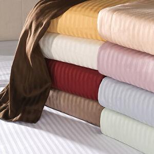 Glorious Bedding Sheets 6 PCs 1000TC Egyptian Cotton UK Super King Stripe Colors