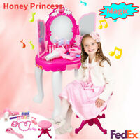 Xmas Gift Princess Pretend Vanity Makeup  Mirror Dressing Table Toy Girl US