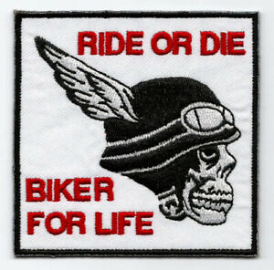 RIDE OR DIE BIKER FOR LIFE EMBROIDERED FABRIC PATCH ROCK BIKER SKULL