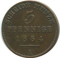 REUSS-OBERGREIZ 3 PFENNIG 1864 A Hannover Mint German States #DE10526.12DW