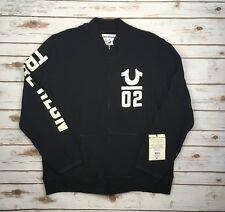 Men's True Religion Lettermans Black French Terry Sweater Jacket Size 2xl