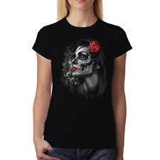 Rose Girl Skull Women T-shirt XS-3XL New
