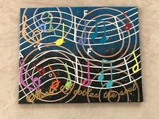 """Canvase Painting Music Lovers wall art 20"""" x 16"""" New acrylic notes"""