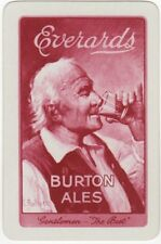 Playing Cards 1 Single Swap Card Vintage Everards BURTON ALES Beer MAN Signed 2